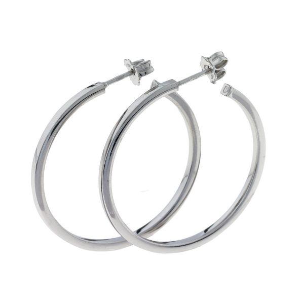 Sølv øreringer med stoppere - (925) 45x2MM