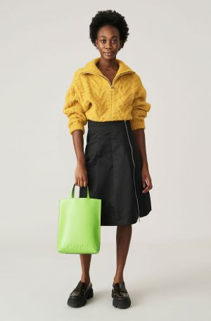 GANNI CABLE KNIT YELLOW