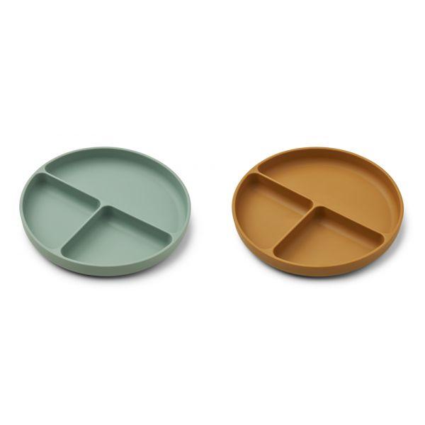 LIEWOOD - HARVEY DIVIDER PLATE 2-PK PEPPERMINT/GOLDEN CARAMEL MIX