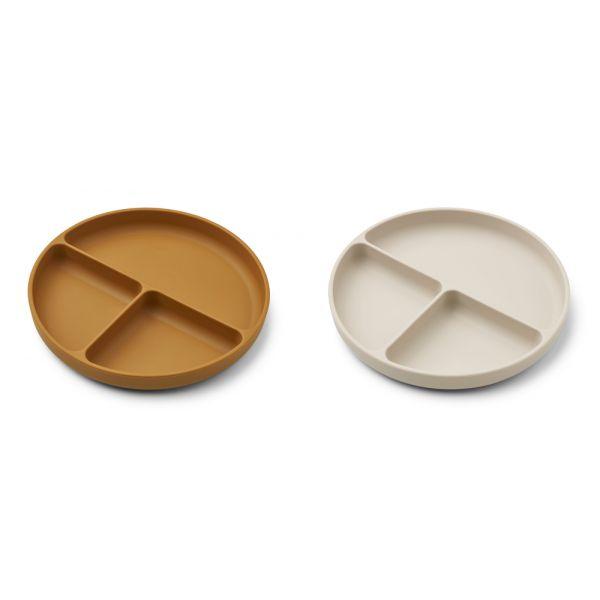 LIEWOOD - HARVEY DIVIDER PLATE 2-PK GOLDEN CARAMEL/SANDY MIX
