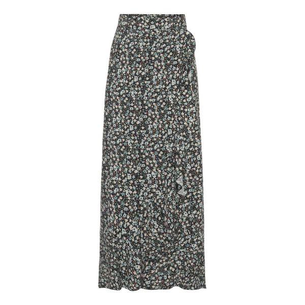 Milly Wrap Skirt Long - Black/Blue Flower Print