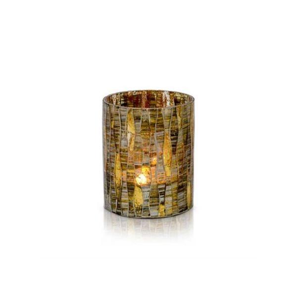 Lysglass mosaikk amber/gull