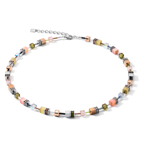 GEOCUBE Oliven/Peach Necklace