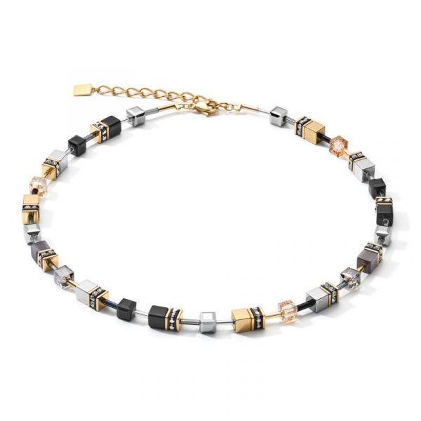 GEOCUBE Black/Gold/Grey Necklace