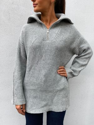 Kalle Knit High Neck - Light Grey Melange