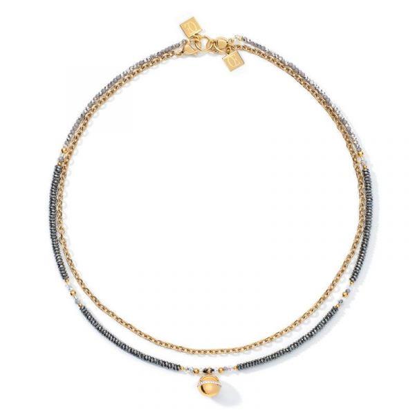 Gold Black/Grey Steel Necklace