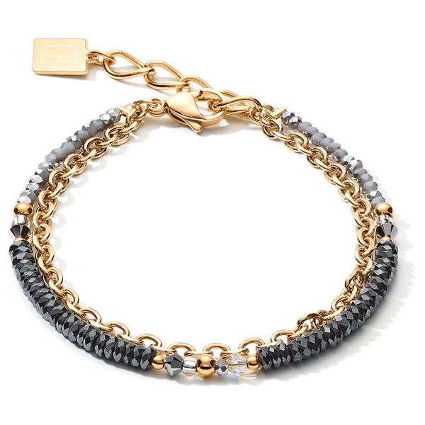 Gold Black/Grey Steel Bracelet