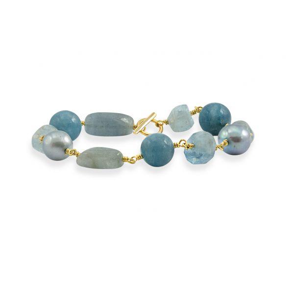 Joy of Gems (Blue quartz) - Forgylt Armbånd