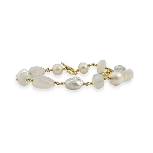 Joy of Gems (Pearl) - Forgylt Armbånd