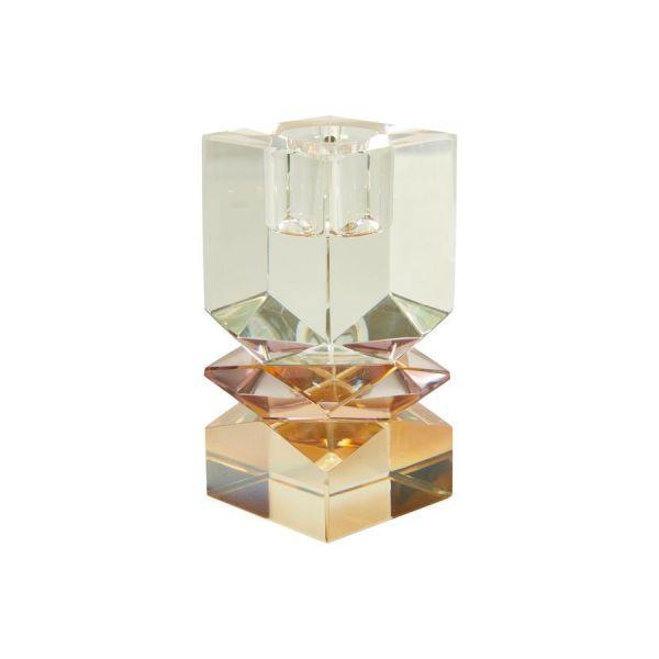 Krystall lysestake - amber/rose