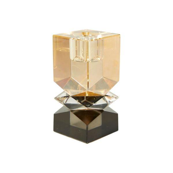 Krystall lysestake - svart/champagne