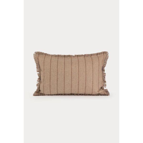 Halvor Bakke Putetrekk ull beige m/brune striper