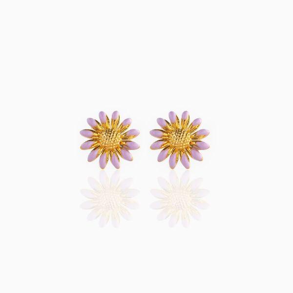 Lavender Enamel Sunflower - Ørepynt