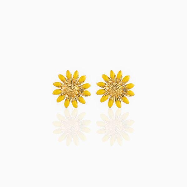 Yellow Enamel Sunflower - Ørepynt