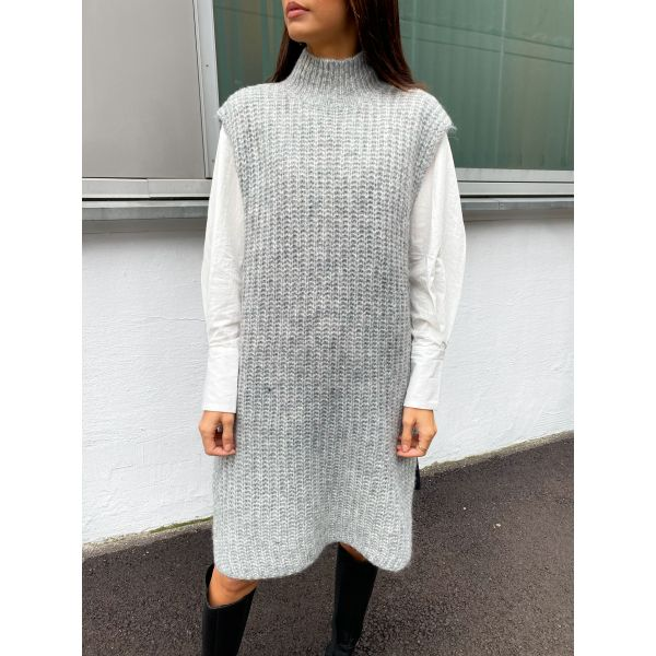 Sudana Long Knit Vest - Light Grey Melange