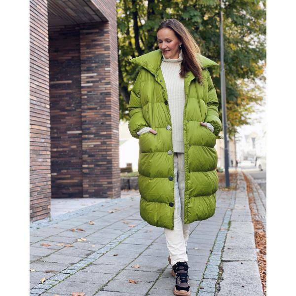 Coat Feather Collar Green