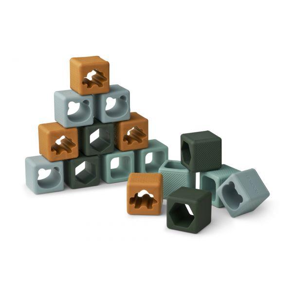 LIEWOOD - LOREN BUILDING BLOCKS 16-PK GREEN MULTI MIX