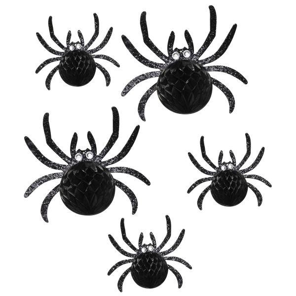 5 svarte Halloween-edderkopper