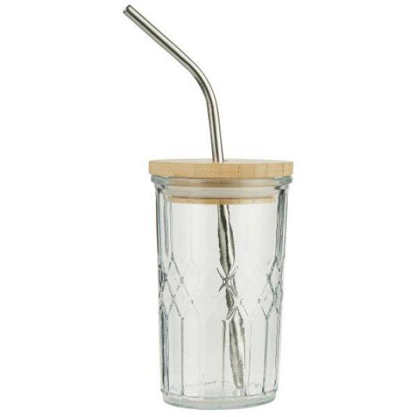 Glass med bambuslokk og sugerør i rustfritt stål