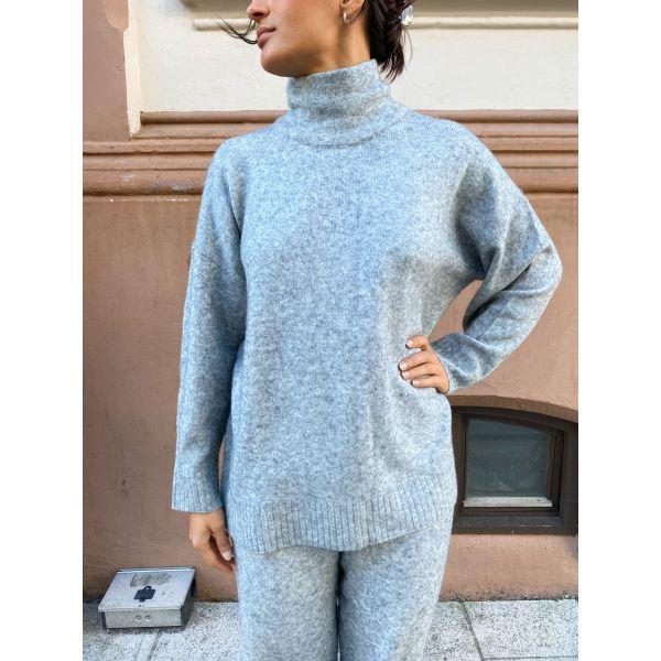Unite Knit Blouse - Grey Melange