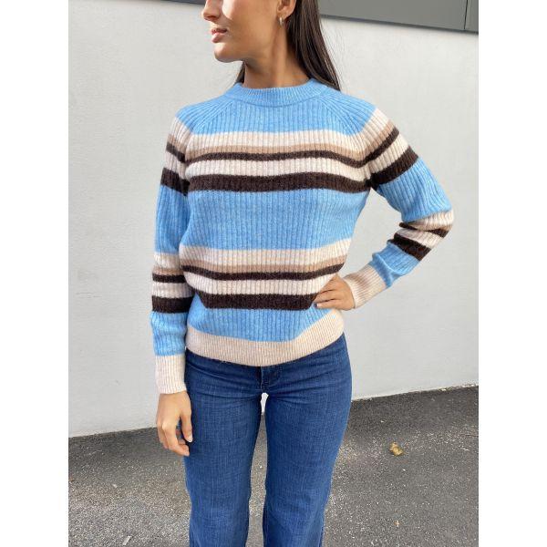 Star Knit Rib Strip X-Mas O-Neck - Alaskan Blue Stripes