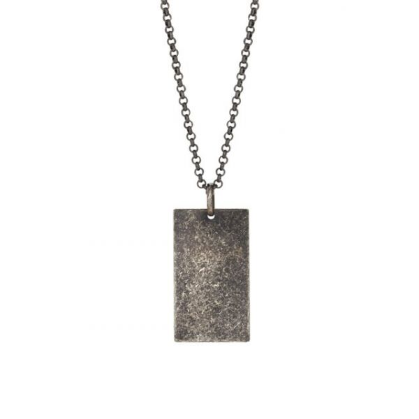 Rhd. silver necklace cracked 29mm, 60cm