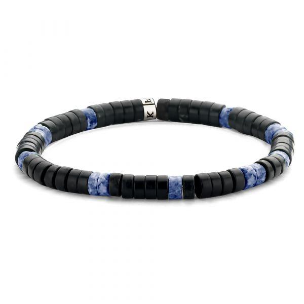 Matt Dark Blue and Black Agate Bracelet