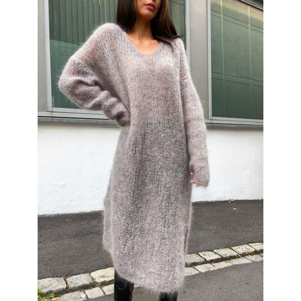 Camilla V-Neck Mohair Dress - Grey