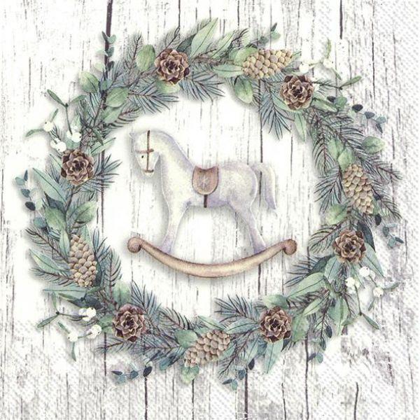 White Christmas wreath – kaffeservietter