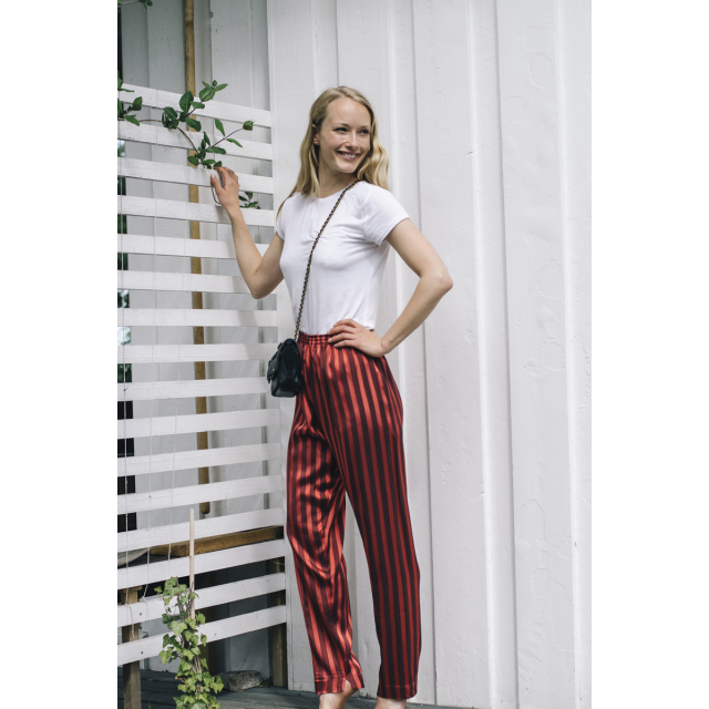 SATIN STRIPED PANTS