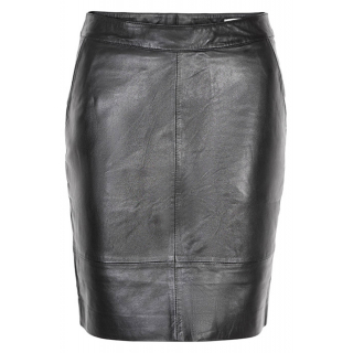Char Leather Skirt