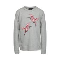 Grå genser m/flamingoer