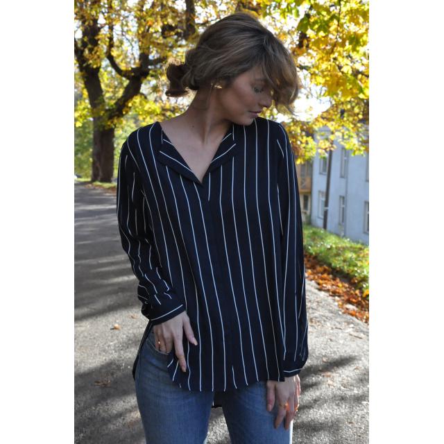Dynella  Shirt Navy/hvit stripet