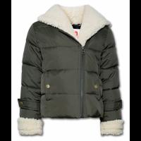 Nylon jakke med teddy-slag