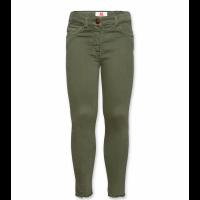 Bukse i stretch med liten frynsekant nederst