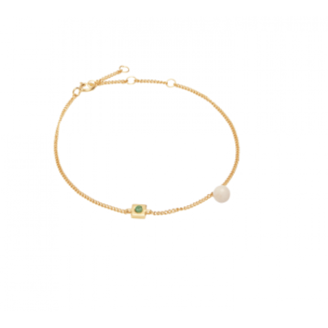 Square Pearl Bracelet Cashmere, Safir og gull