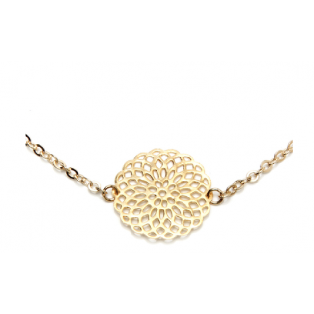 Gold Circle Filigre Necklace