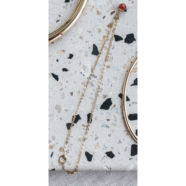 9K GOLD CHAIN BRACELET WITH BEAD CHARM