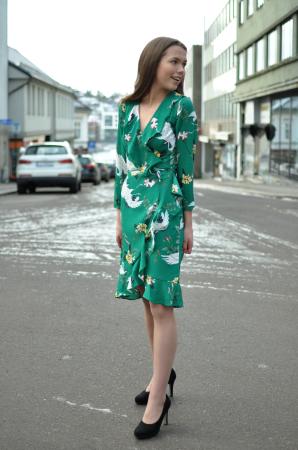 Crane wrap dress
