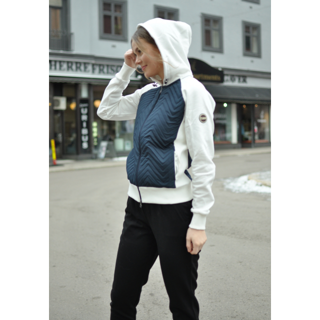 PADDED SWEATSHIRT WITH ZIP AND HOOD - WHITE/BLUE