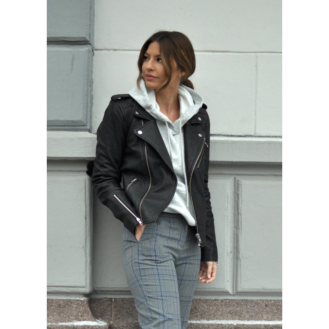 SANDY BIKER LEATHER JACKET-BLACK
