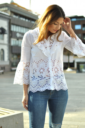 BRODERIE ANGLAISE LONG SLEEVE SHIRT-WHITE