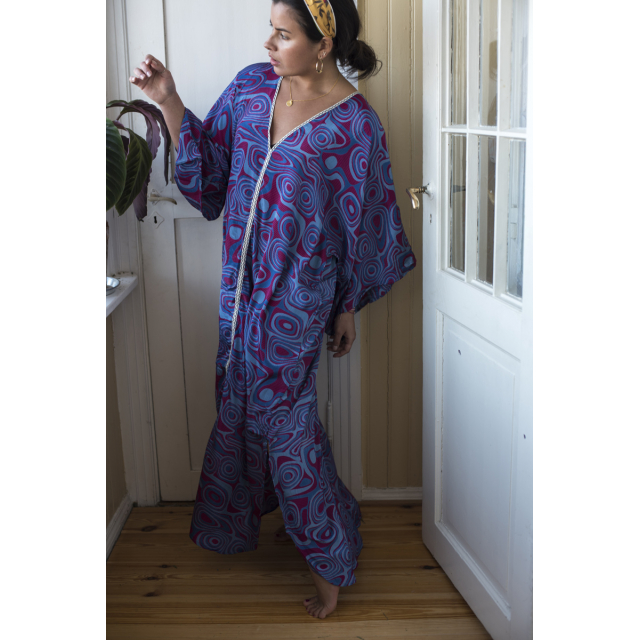 STORM CHILD CAFTAN - CIRCLES BLUE & PINK