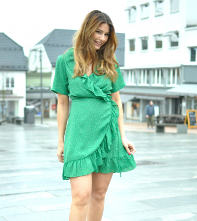 RENATA FLOUNCE DRESS - DOTTLE GREEN AOP
