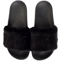 Dark MINK SLIPPERS