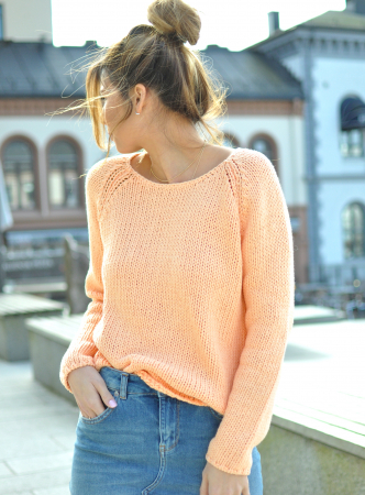 OLGA KNIT WIDE O-NECK - APRICOT ICE