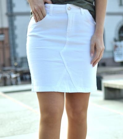 MAYA DENIM SKIRT-WHITE DENIM