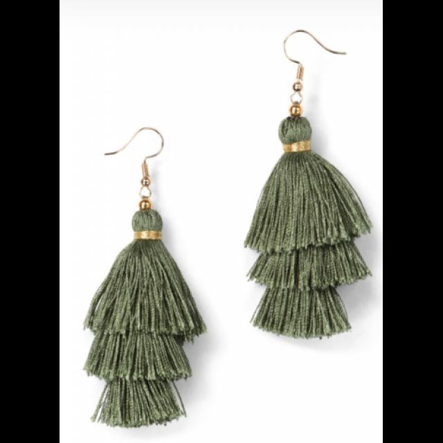 Trees Silk Tassel Earrings-Green