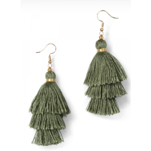 Trees Silk Tassel Earrings-Green
