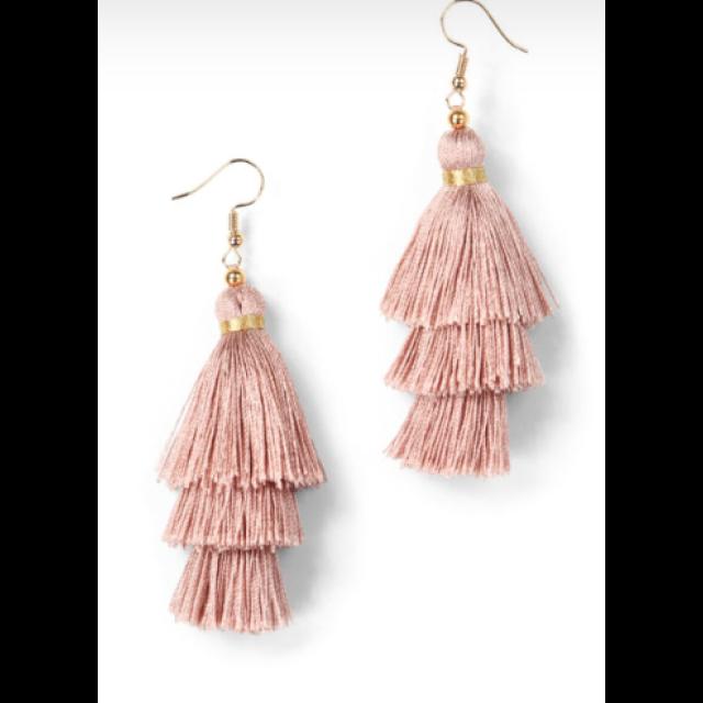 Trees Silk Tassel Earrings-Dusty Pink
